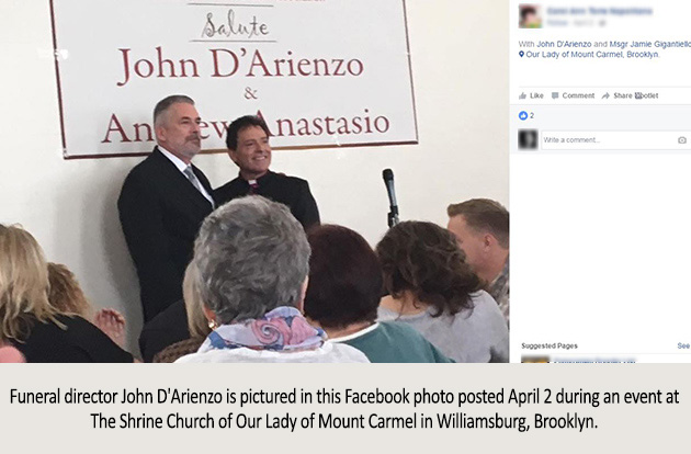 Funeral director John D'Arienzo is pictured in this Facebook photo posted April 2 during an event at The Shrine Church of Our Lady of Mount Carmel in Williamsburg, Brooklyn.