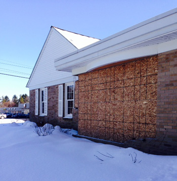 Temporary Repairs Following Crash at Lind Funeral Home