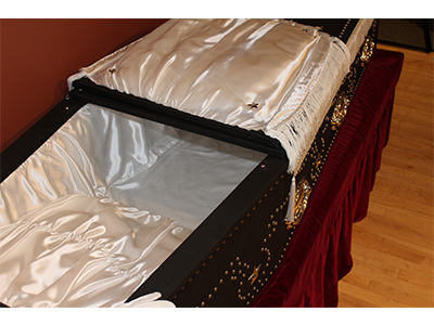 Closeup of Lincoln Coffin Replica