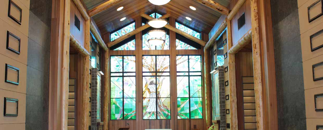 Image of the stained glass window at the Mary Immaculate, Patroness of America Chapel Mausoleum