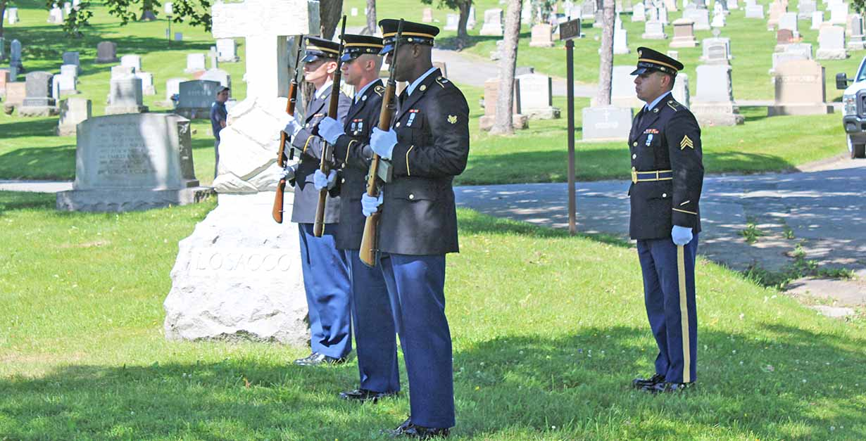 Members of the New York Army National Guard 42nd Infantry Division conducted military honors during the ceremony honoring Campanella.