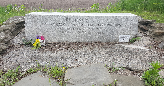A Random Memorial for David Mezzio, James Minicki & Mark Phillips - victims of the April 5, 1987 NYS Thruway bridge collapse. At the Tribes Hill Boat Launch and Park, Montgomery County, NY.
