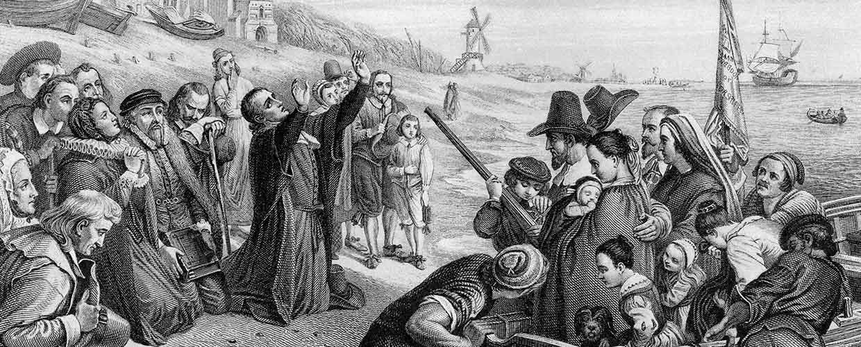 "Black and White rendering titled ""Pilgrim Fathers Leaving England,"" by Tony Baggett"