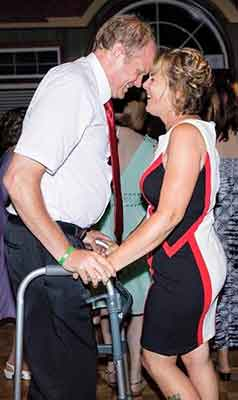 David Murphy enjoys a dance with his wife Tracy for the first time since his devastating injuries