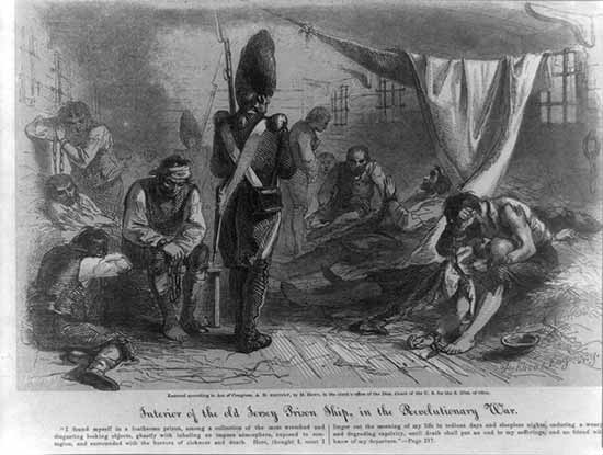 Engraving of British Prison Ship The Jersey, by engraver Edward Bookhout. From the Library of Congress.
