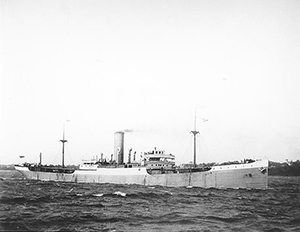 The USS Buenaventura, torpedoed during WWI, sunk off the coast of Spain on September 16, 1918.