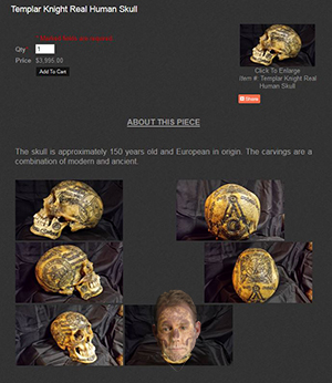 Image of an ornately-carved human head found online for sale - image of Ed Munger's face added for the fun of it