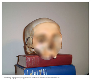 Image of a human skull atop some books on some blogger's shelf - skeleton's face obscured for the sake of decency