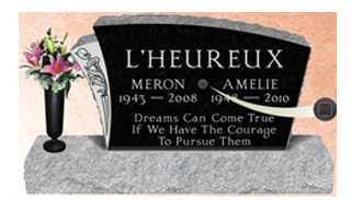 A QR code affixed to this headstones provides guests with information