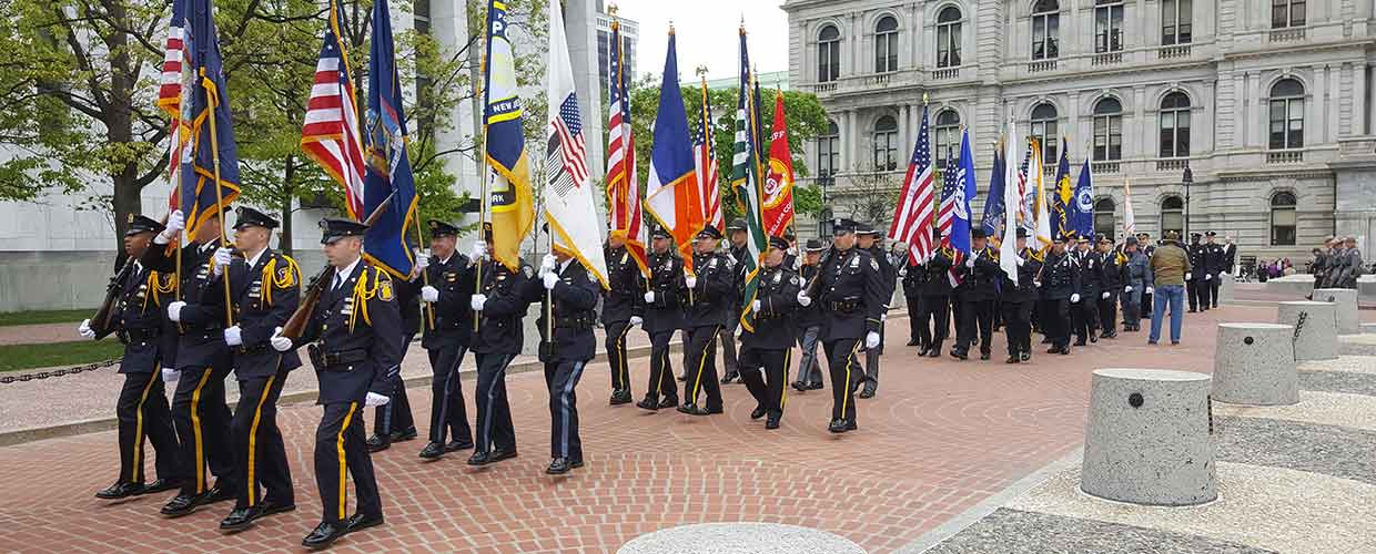 Police officers memorial march Albany NY 2017