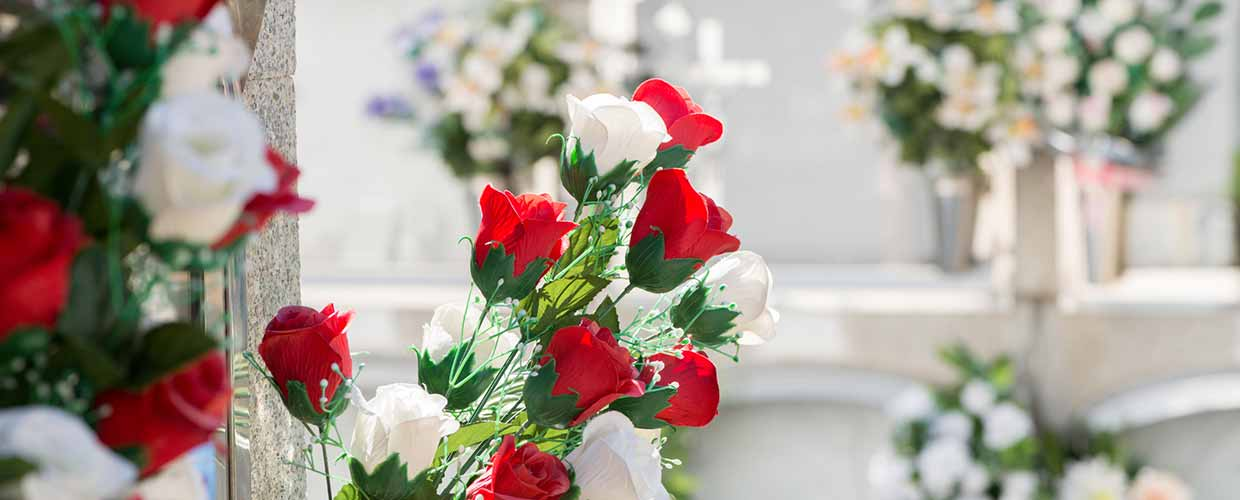 Beautiful bouquet of funeral flowers